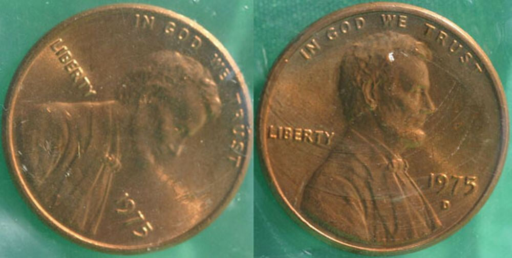 1975 P and D Lincoln Cent 2-Coin from US Mint Set UNC Cello