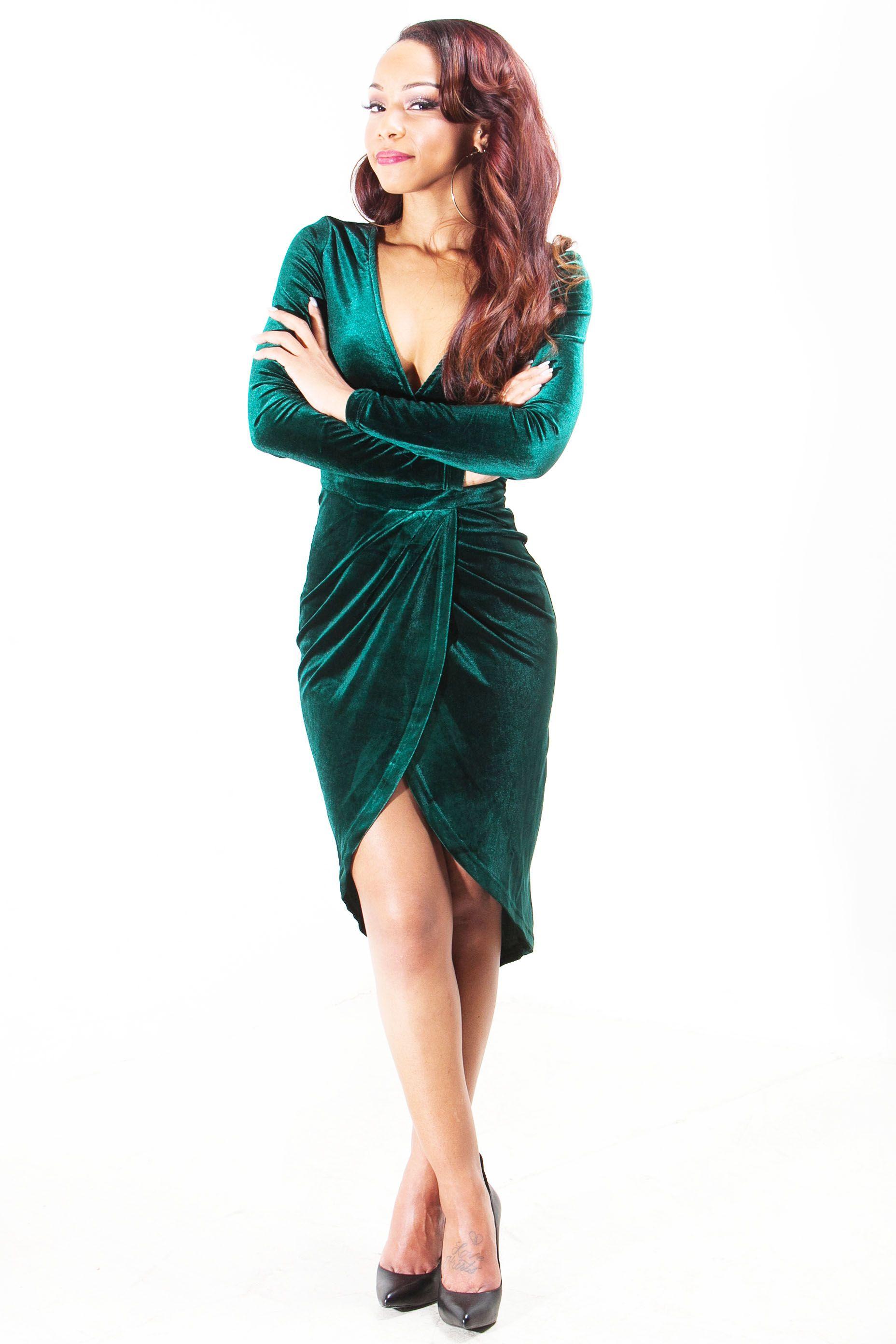Emerald green velvet wrap dress2 green leather
