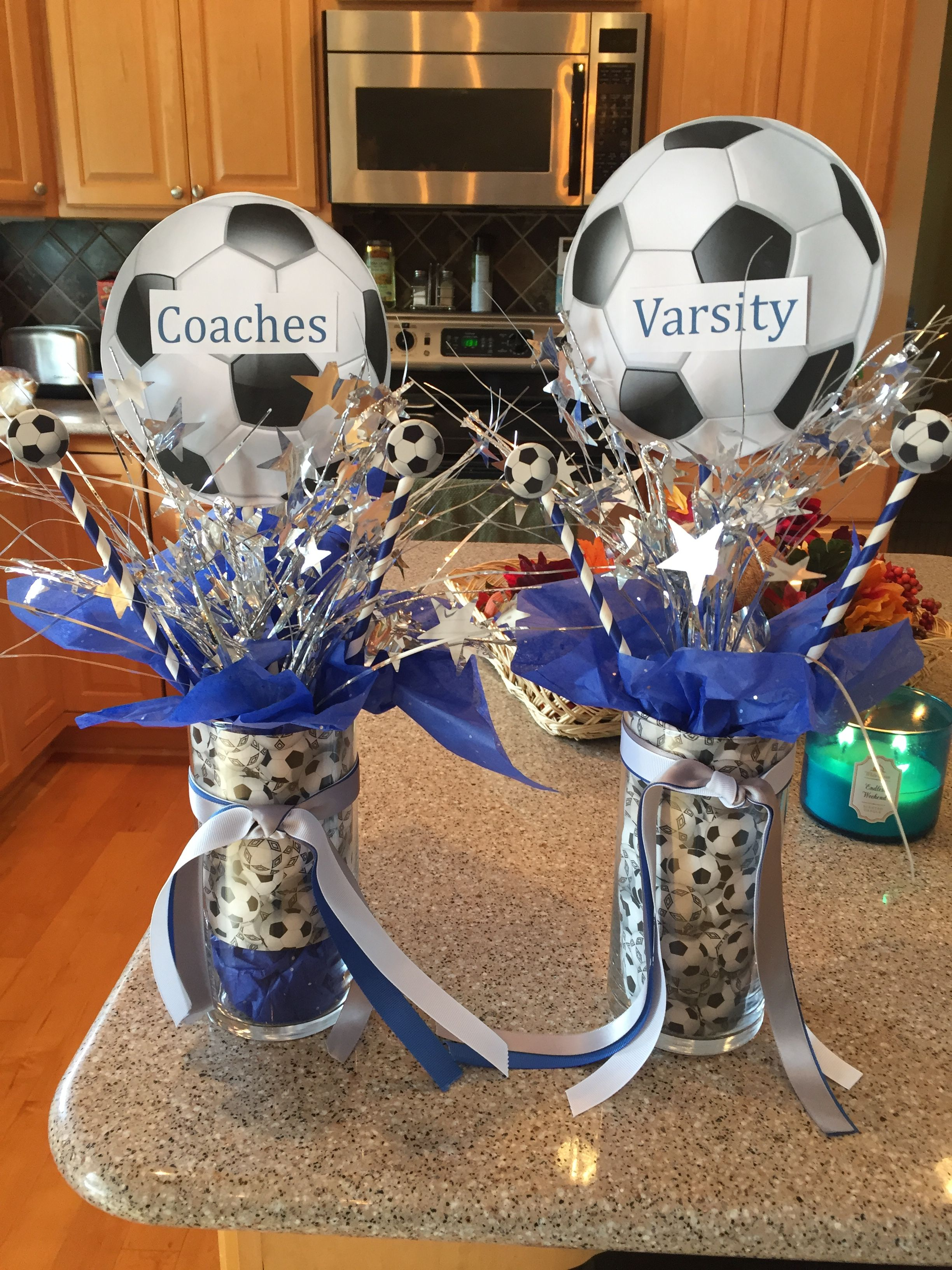 Gifts For Soccer Banquet Use Clear Plastic Vase Put Soccer Paper On The Inside Fill With Candy And Soccer Banquet Soccer Banquet Gifts Soccer Centerpieces