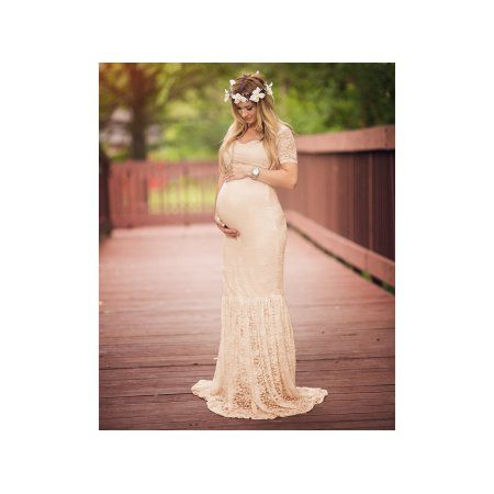 e3ff49469c58a Women's Off Shoulder V Neck Short Sleeve Lace Maternity Gown Maxi  Photography Dress. #infant #mom #babyfashion #kidsfashion #momsfashion  #love #family # ...