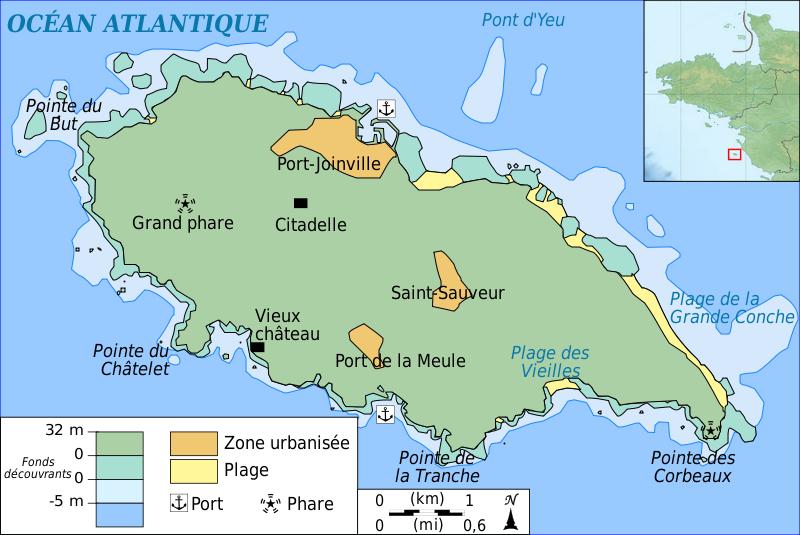 carte topographique de l'île d'Yeu | Ile yeu, Iles du ponant et Océan atlantique
