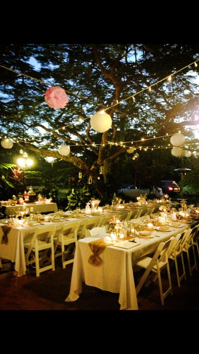 Outdoor garden wedding fairy lights paper lanterns and pom poms outdoor garden wedding fairy lights paper lanterns and pom poms hanging lights table settings with fresh pastel flowers candles burlap runner aloadofball Gallery