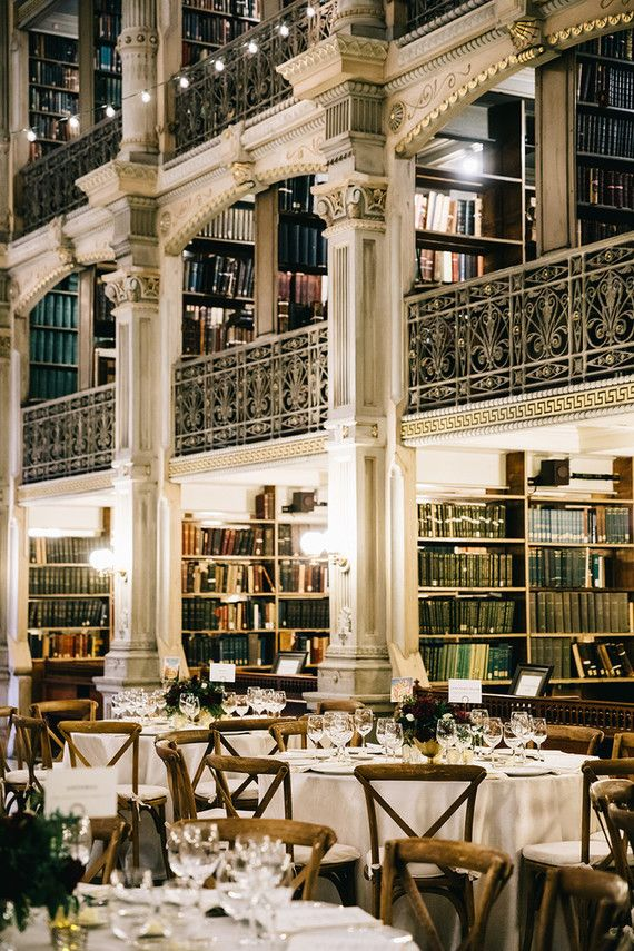 A wintery library wedding with the most magical reception at the George Peabody Library in Baltimore  100 Layer Cake