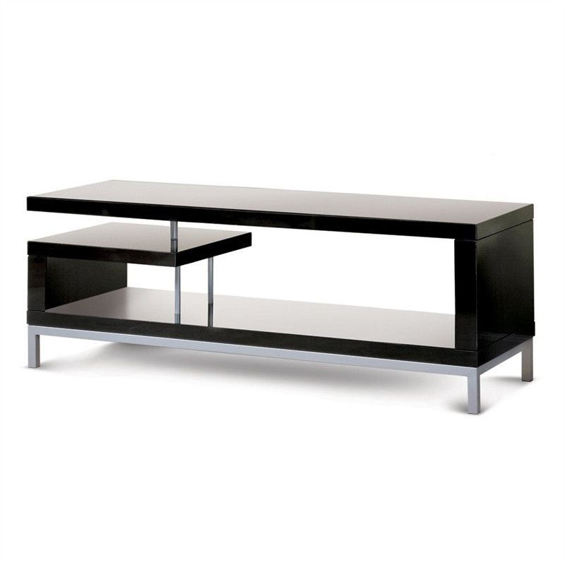 Zig Zag 45 Inch Wide TV Stand In Glossy Black Finish