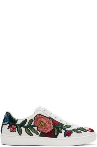 310e5e64b0c5 Gucci - White Floral & Bow Ace Sneakers | GUCCI