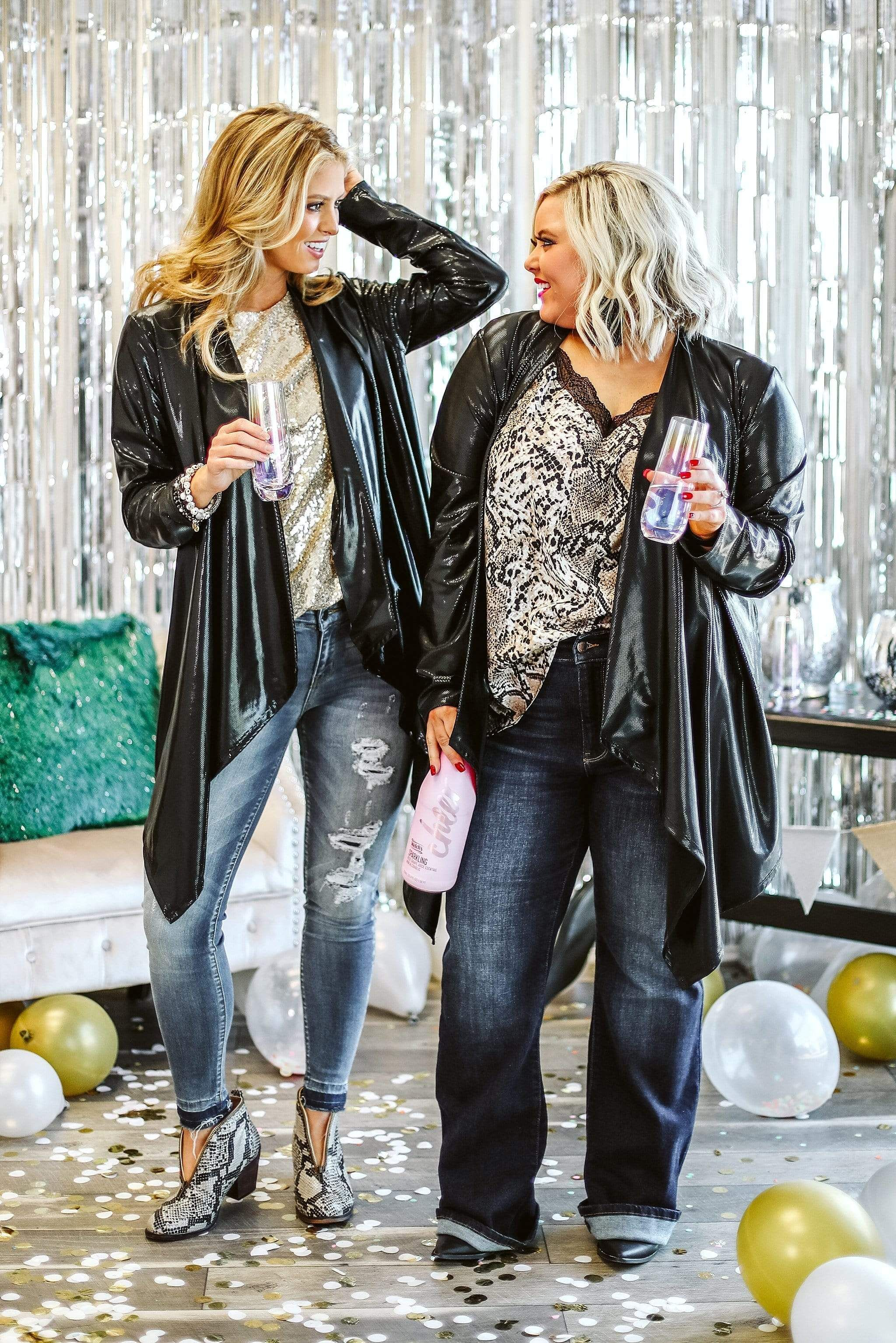 Shimmer right into any special occasion in this sleek and sexy cardigan with kerchief hem. Open style, 37