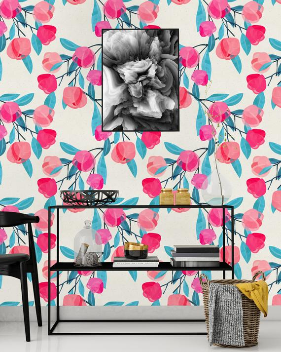 Cute Pink Flowers Removable Wallpaper Peel Stick Mural Etsy Wallpaper Panels Wallpaper Nursery Mural