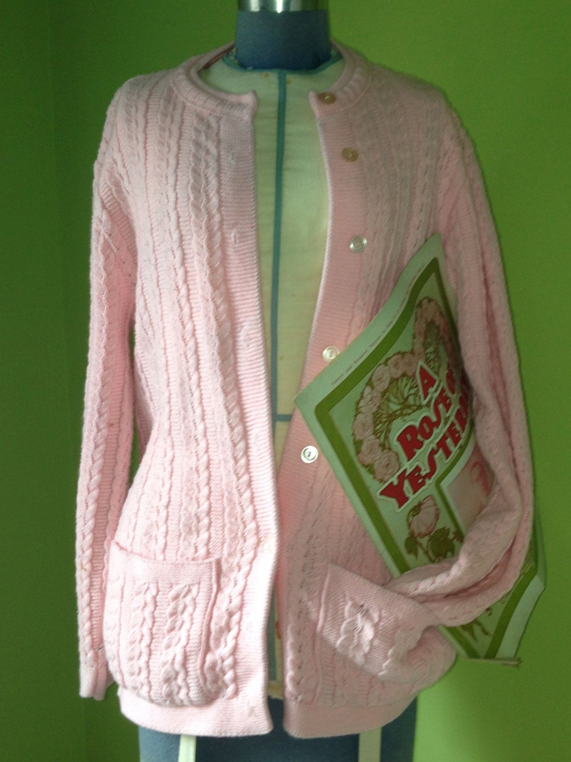 Pink Vintage 60's Button Down Cable Knit Square Pocket Long ...