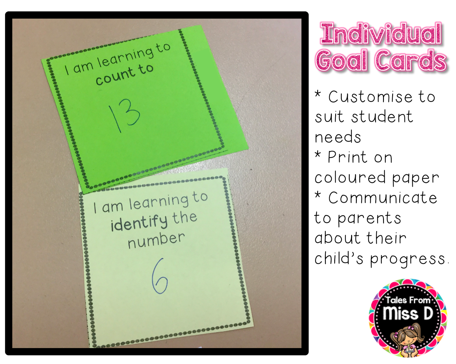 Individual Goal Cards For Maths Numeral Id And Counting