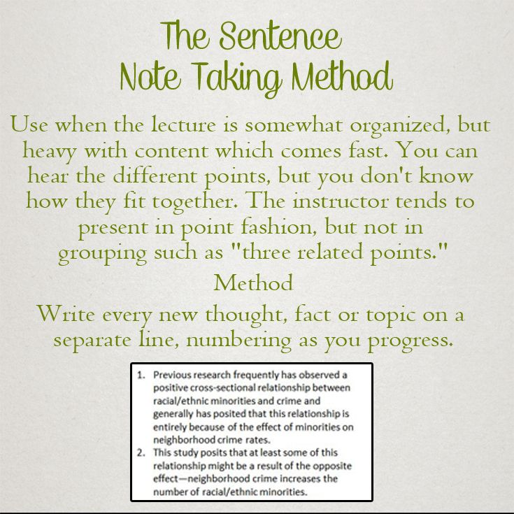 T-Notes Method for Note Taking
