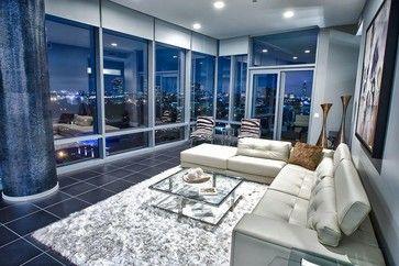 Upper Kirby Highrise Condo Contemporary Living Room Modern Condo Living Room Luxury Apartments Interior Condo Interior
