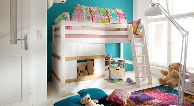 Awesome H tten Midi Hochbett Kids Paradise aus Massivholz Betten de http