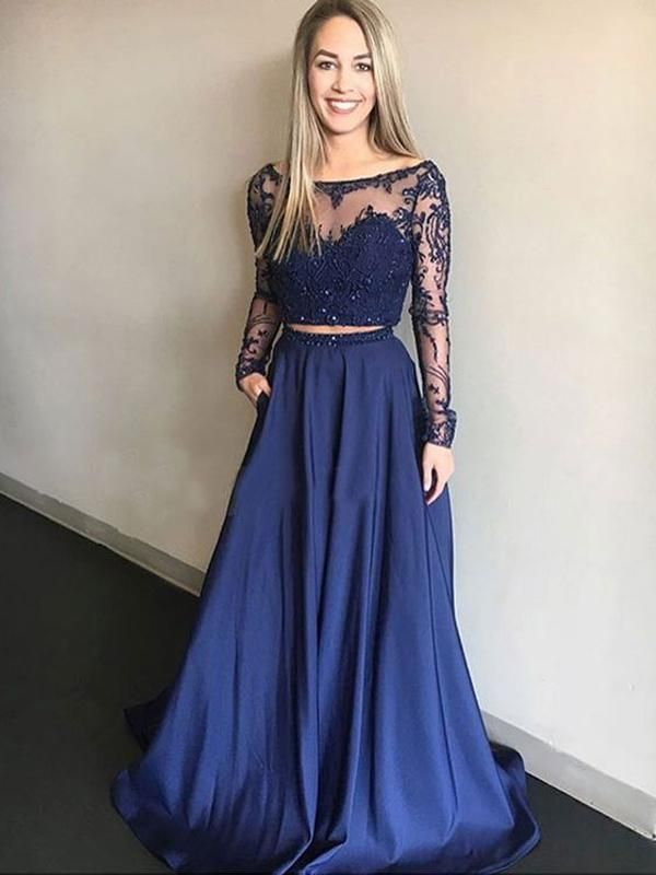 95fd1882af Pretty Two Pieces Lace Top Beaded Long Sleeves Long Evening Prom Dresses