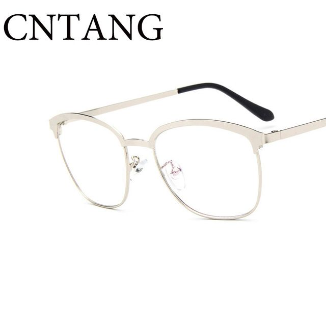 Aço Inoxidável do Metal das mulheres Do Vintage Óculos de Armação Moda  Retro Designer Limpar Vidros Ópticos Óculos Quadros de Óculos Para Homens 4a36af3d19