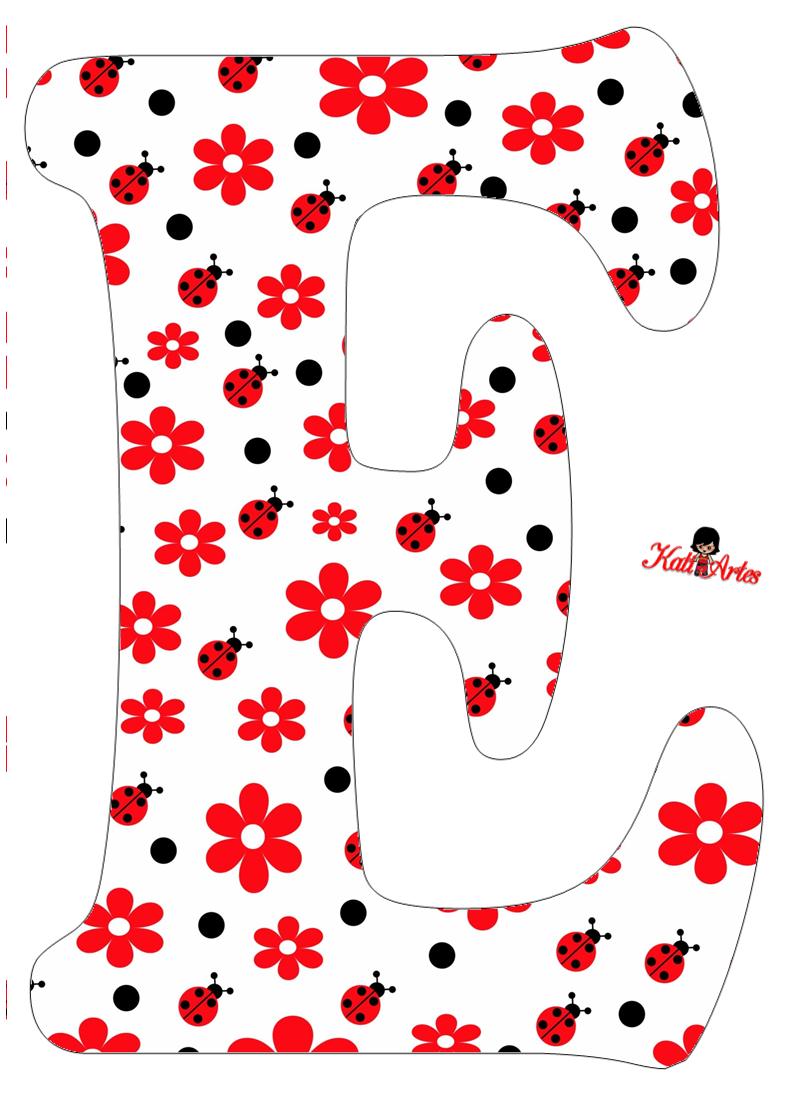 Flowers and Ladybugs Free Alphabet. Alfabeto de Flores y Mariquitas ...