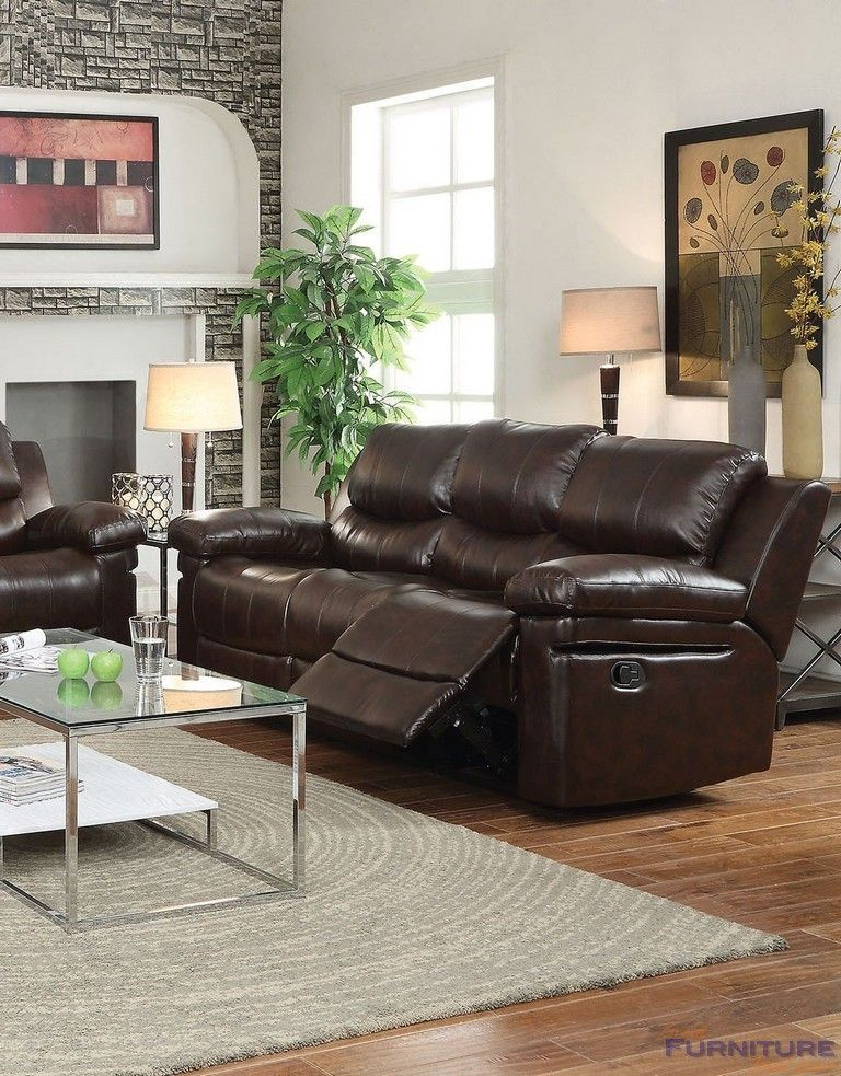 good quality living room furniture%0A Acme Furniture  Xenos Sofa  Motion   DBrown LeatherAire