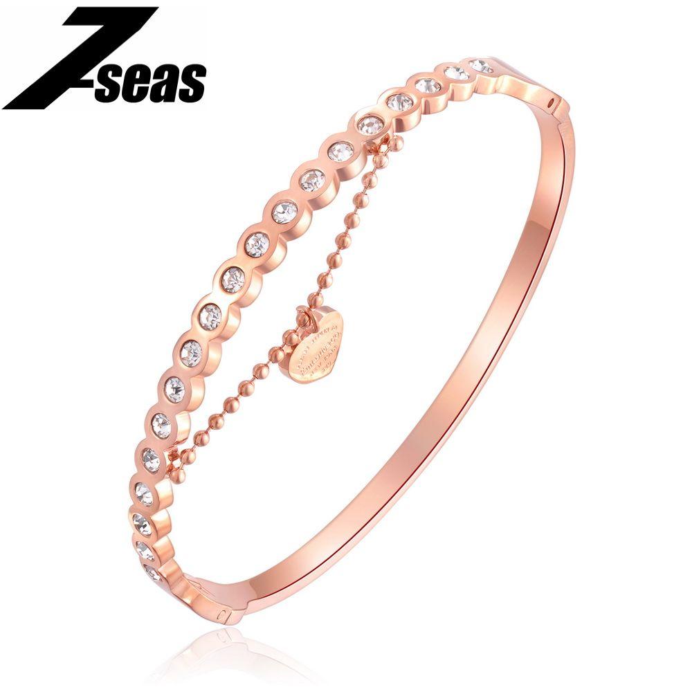 Seas romatic heart pendant women bracelets u bangles luxury aaa cz