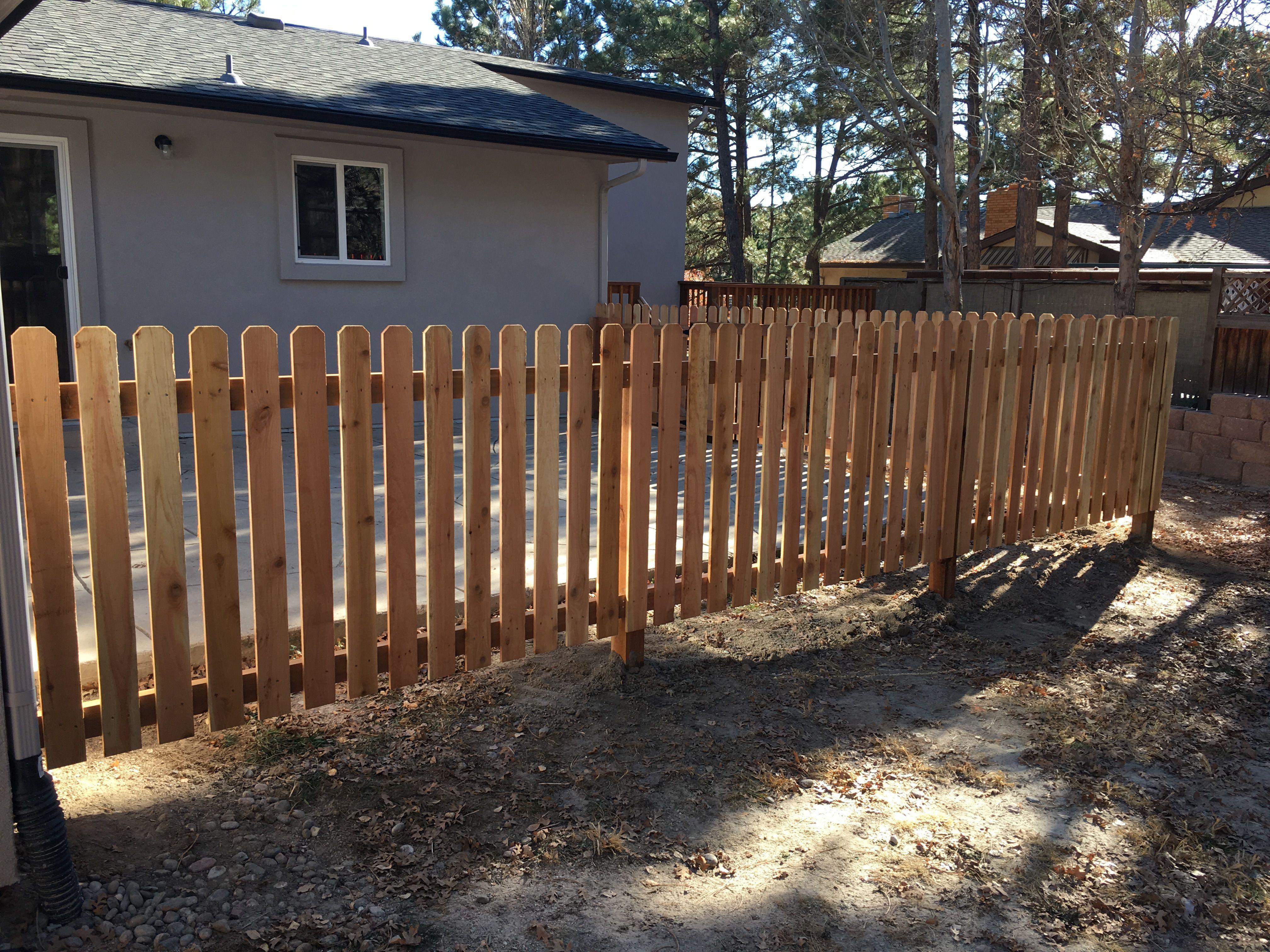 4 Spaced Cedar Picket Fence Using 4x4 Cedar Posts 2x4 Cedar