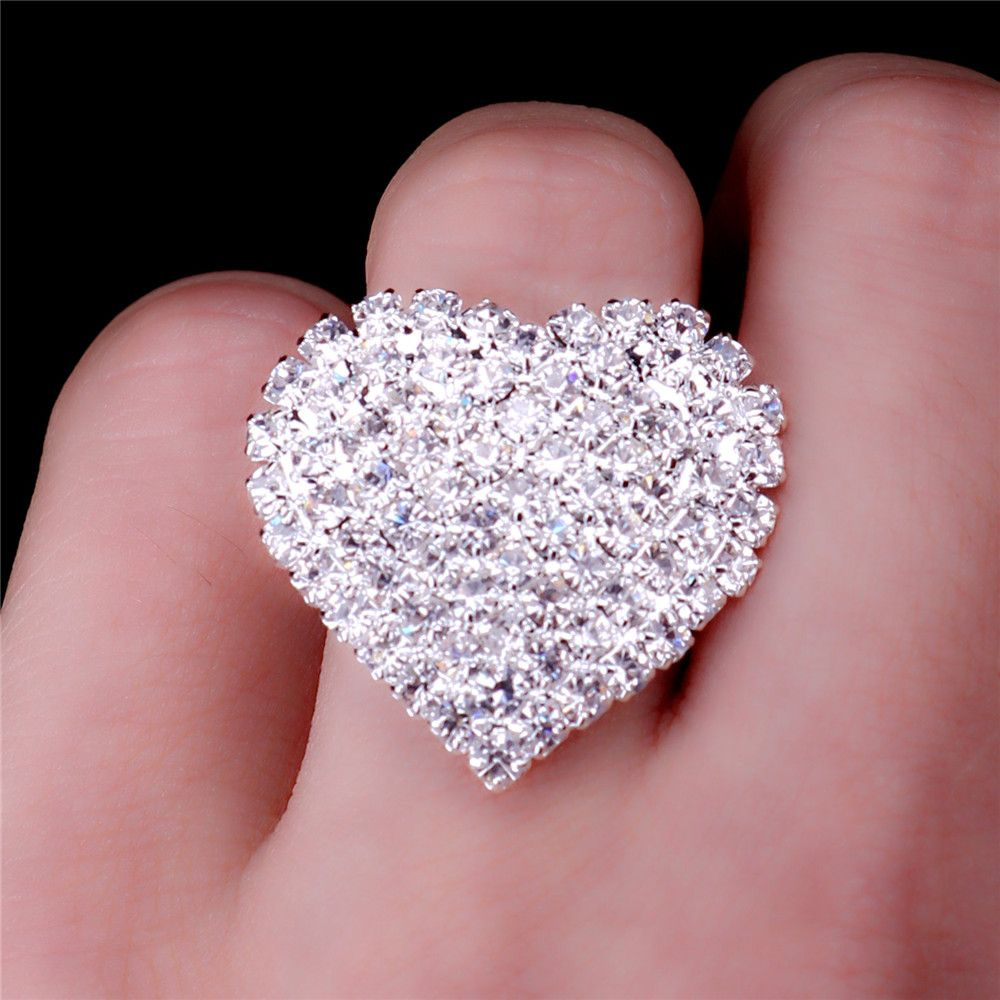 Click to Buy << IMiXBOX Big Heart Wedding Rings For Women white ...