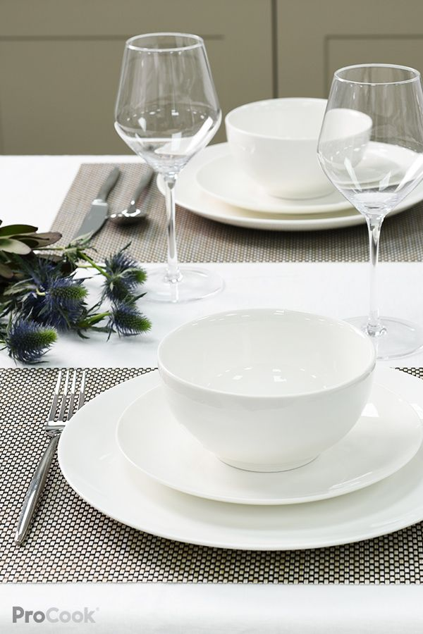 Procook Vienna Coupe Fine China Dinner Set18 Piece 6 Settings White Tableware Dinner Sets Fine China