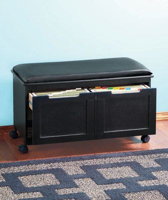 Walnut Black Cushion File Cabinet Bench Office Entryway Seat