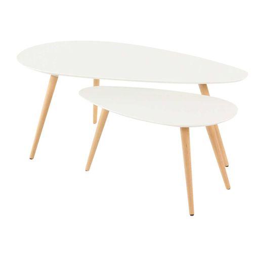 Table basse gigogne en bois blanc mat Flam (lot de 2). Monté sur un ...