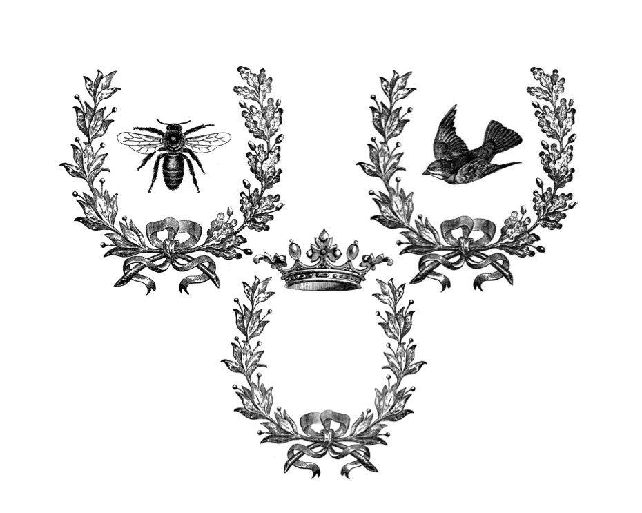 Vintage Laurel Wreaths With Bee Crown Sparrow Resting On My