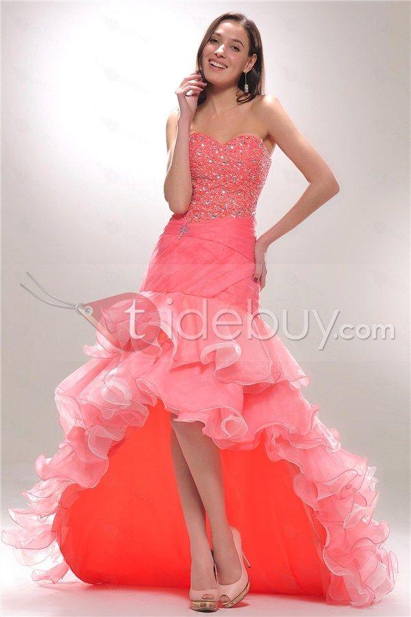 Brillante Vestido de Prom con Adornos en Niveles y Escote Corazón y ...