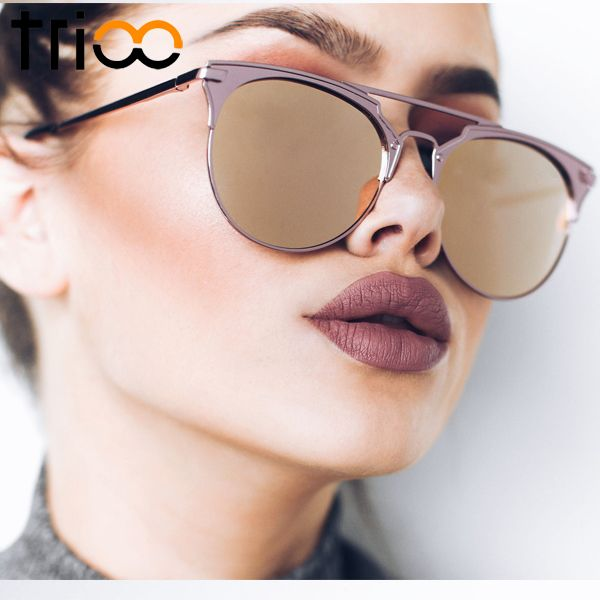 11146b7249c0e TRIOO Specchio Rose Gold Occhiali Da Sole Rotondi Donne Luxury Brand  Femminile Occhiali Da Sole Per Le Donne 2017 Fashion Oculos Star Style  Shades