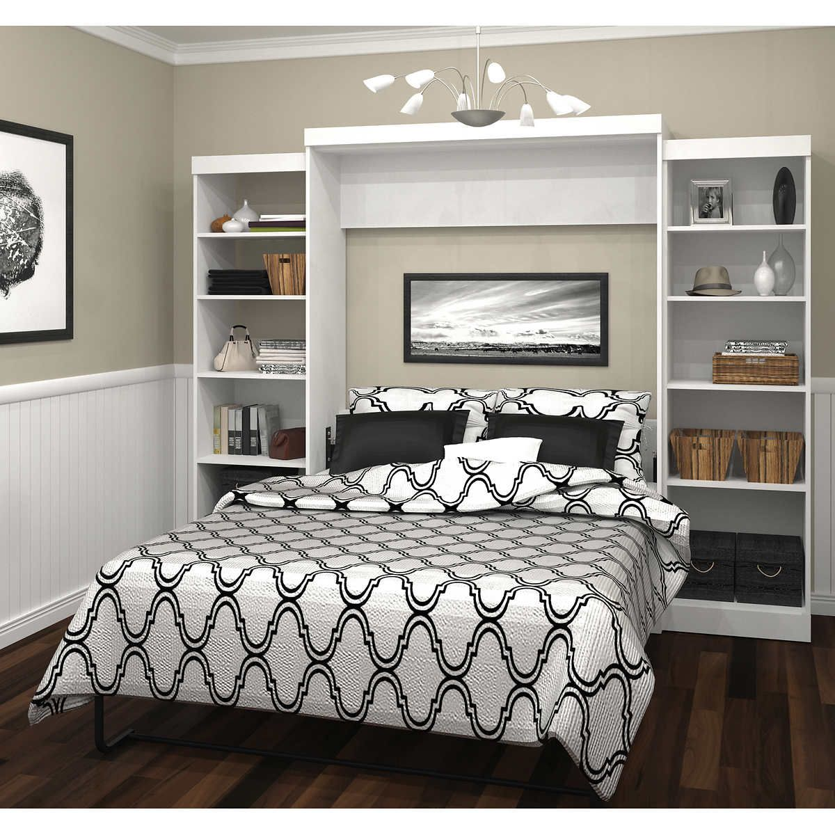 Boutique Queen Wall Bed With Two 25 Open Storage Units In White In 2020 Bed Wall Home Decor Furniture