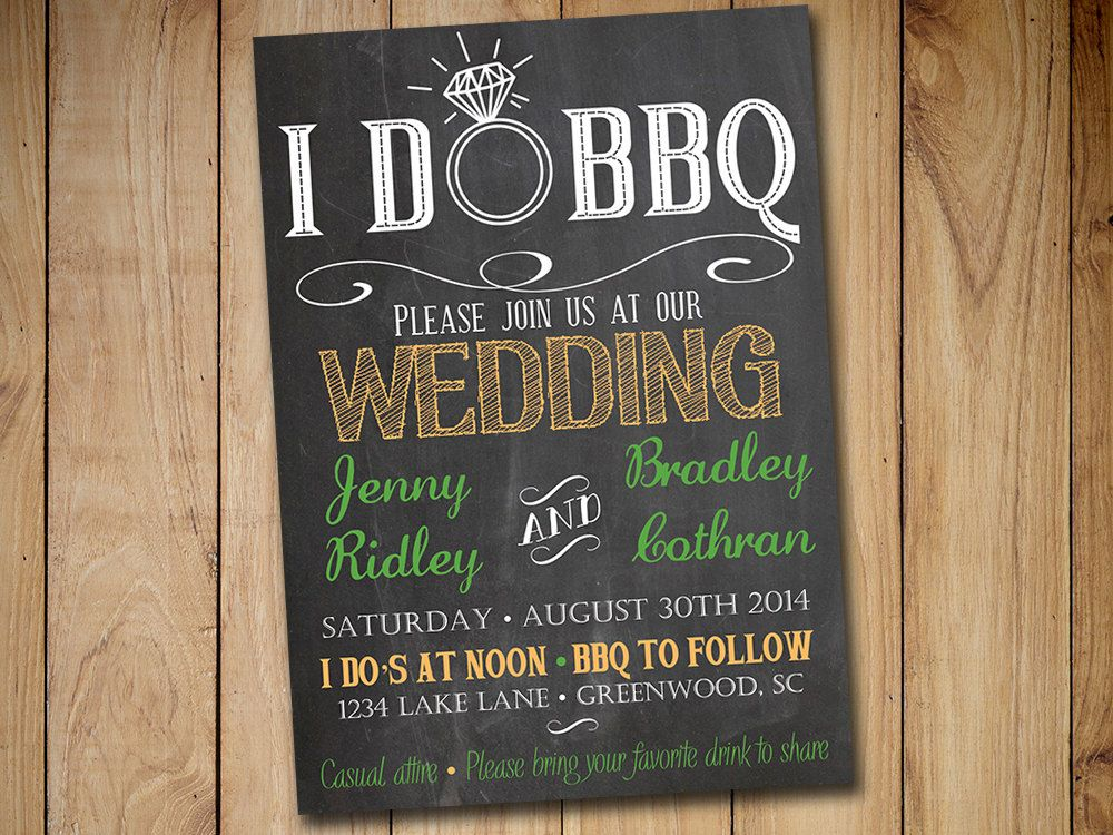 I Do Bbq Wedding Invitation Template Download  Chalkboard