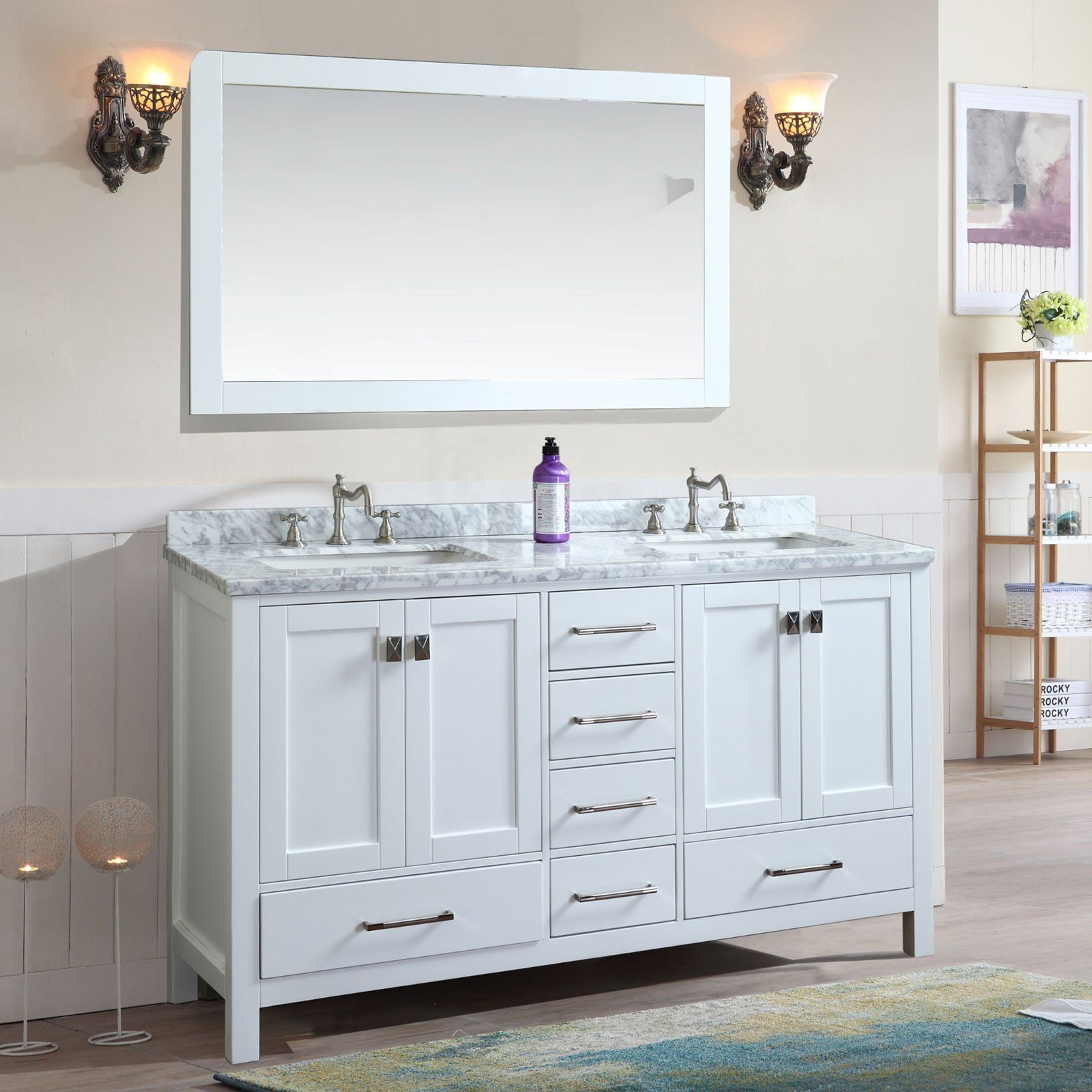 Ari Kitchen and Bath Bella 72 in. Double Bathroom Vanity Set with ...