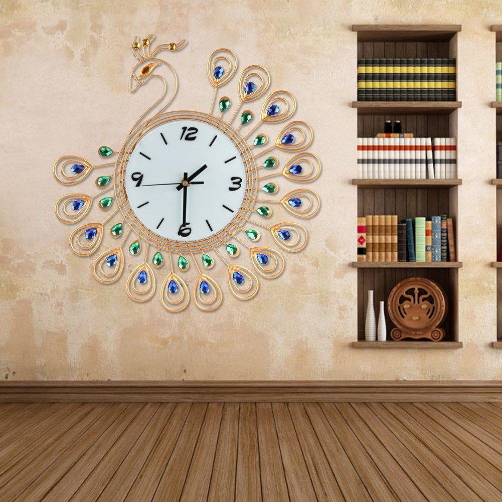Large peacock wall clock decor art modern living room gold home