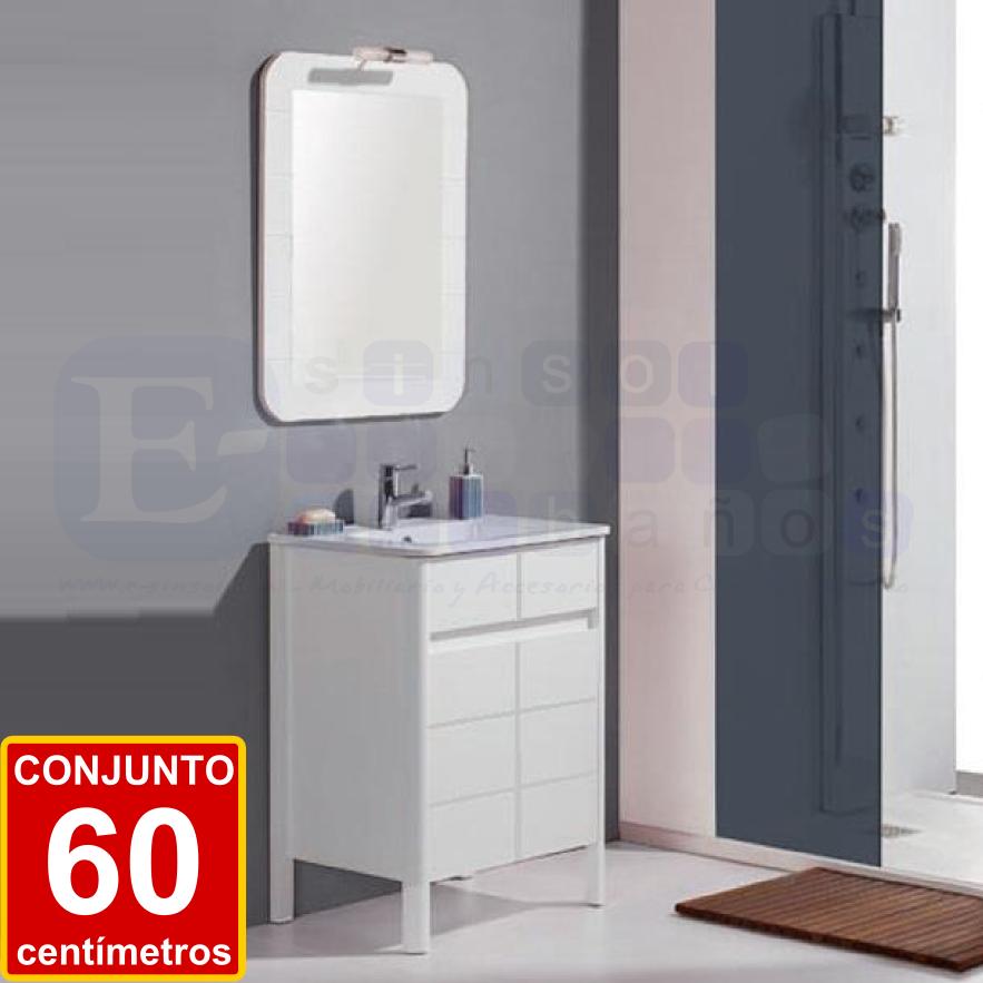 CONJUNTO LEVANTE 60 cm. Pequeño mueble de cuarto de baño con puertas ...