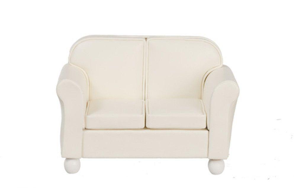 Dollhouse Miniature Loveseat, Cream Leatherette #T6632
