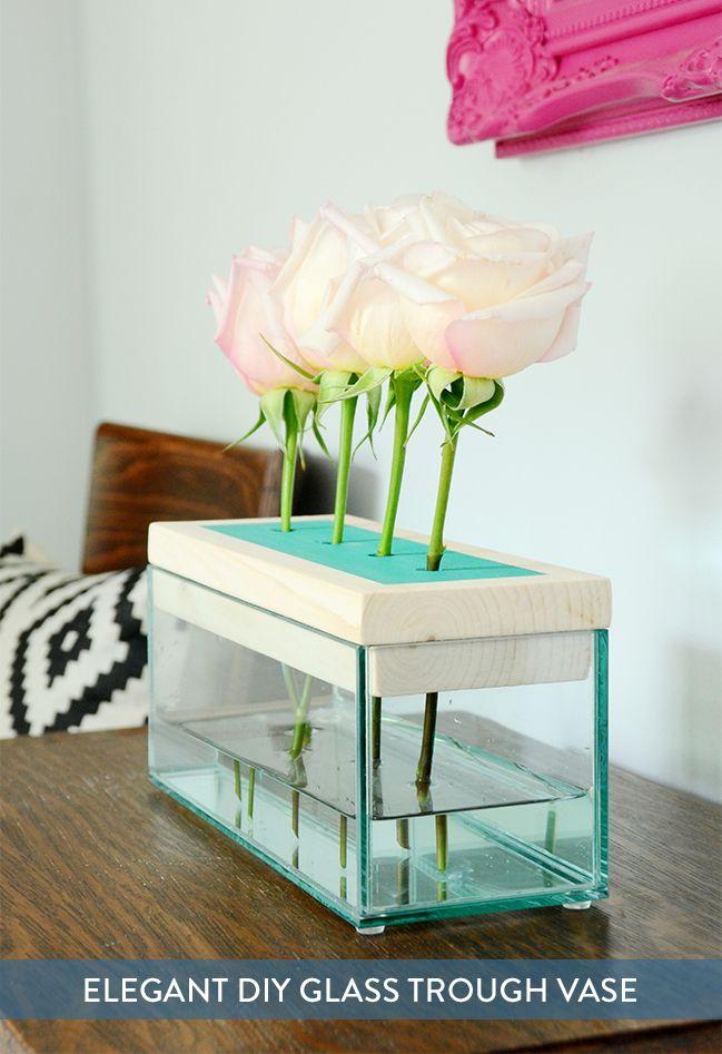 Elegant Diy Wood And Glass Trough Vase Pinterest Glass