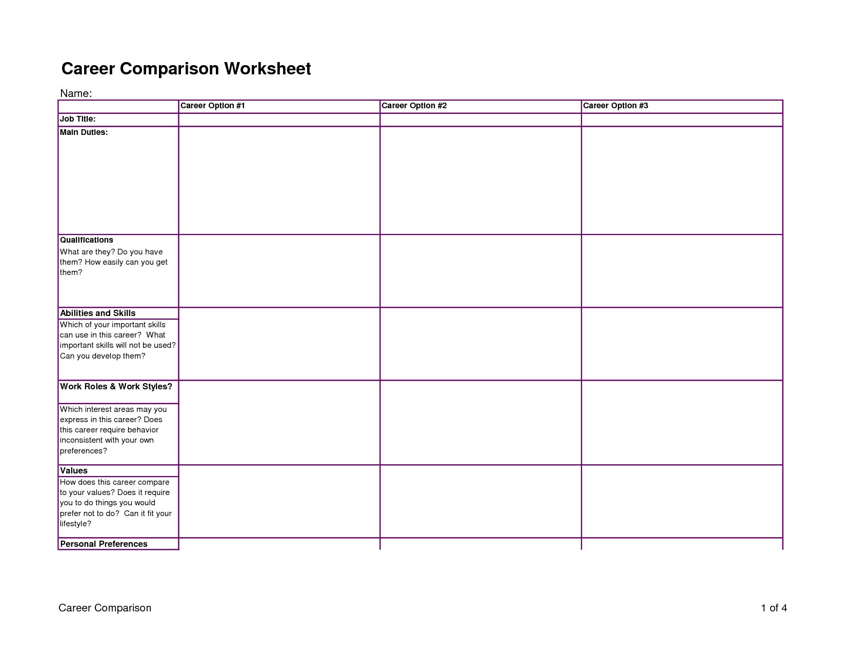 Career Comparison Worksheet