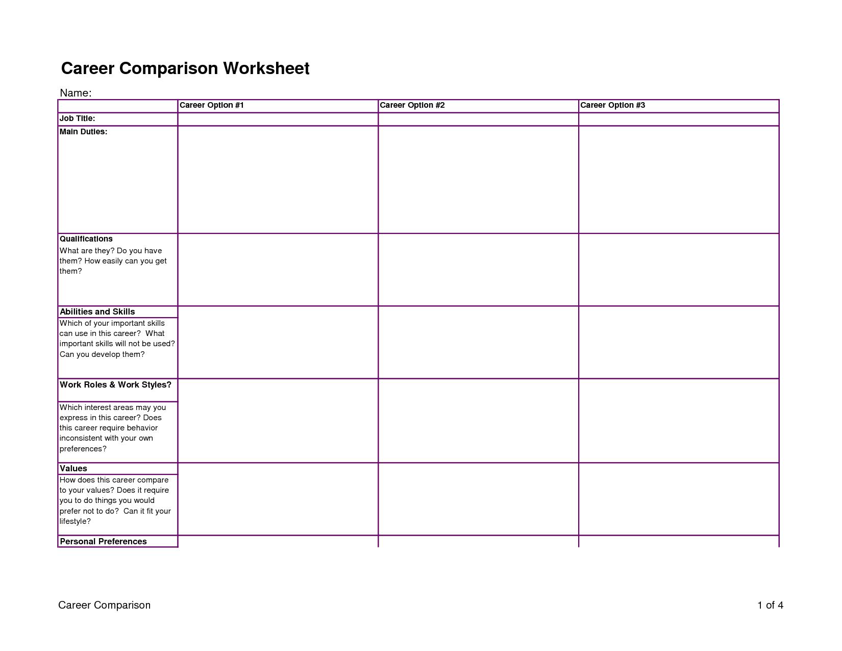 Career Comparison Worksheet