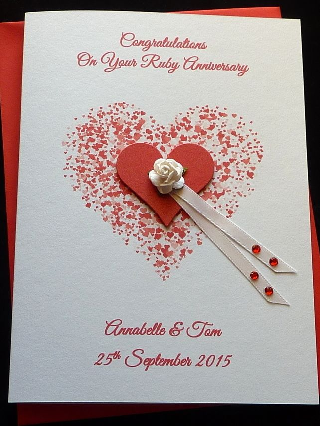 Handmade personalised ruby or th wedding anniversary