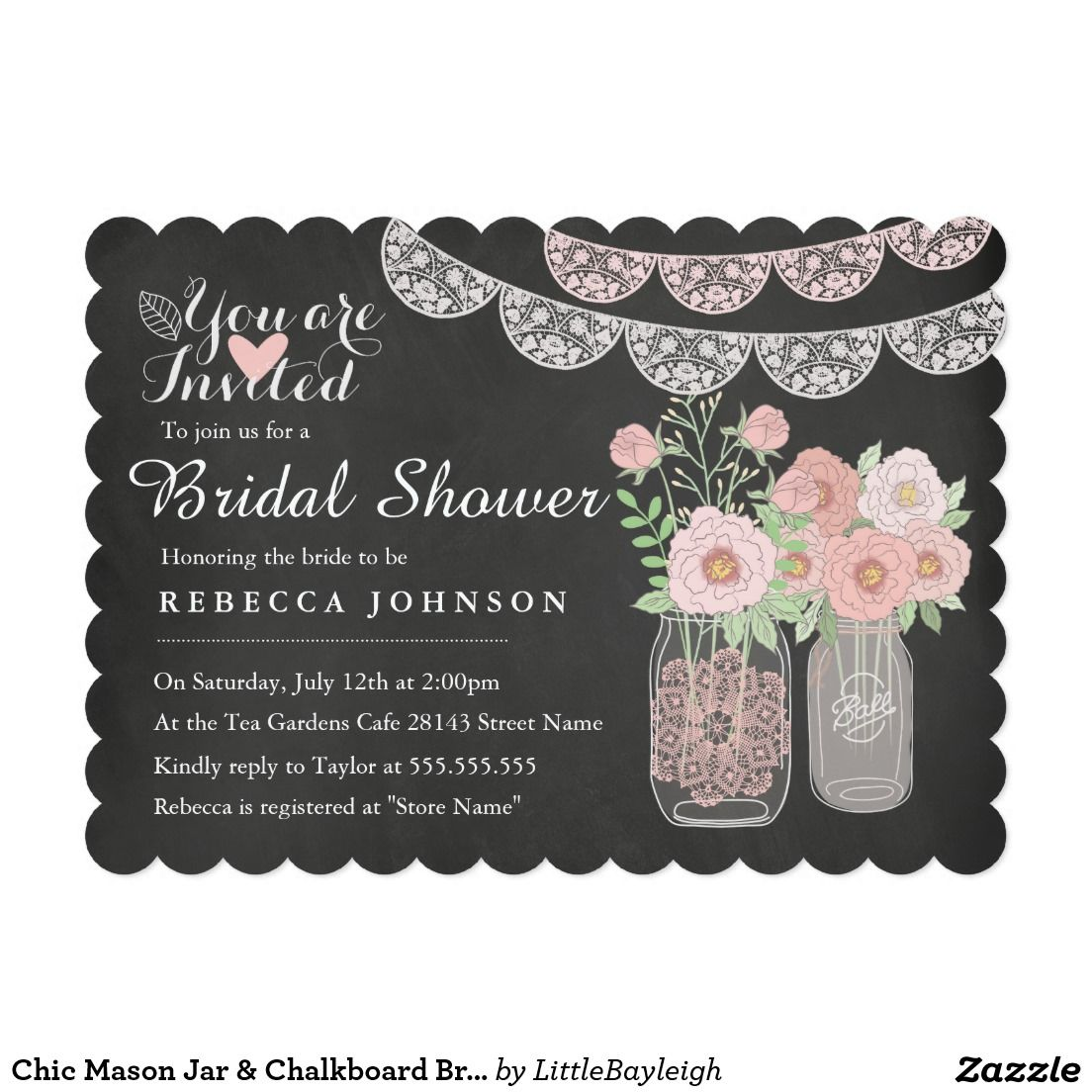 Chic mason jar chalkboard bridal shower invite elegant chalkboard elegant chalkboard bridal shower invitation templates classy bridal shower invitations that you can order online customized for the new bride to be filmwisefo Images