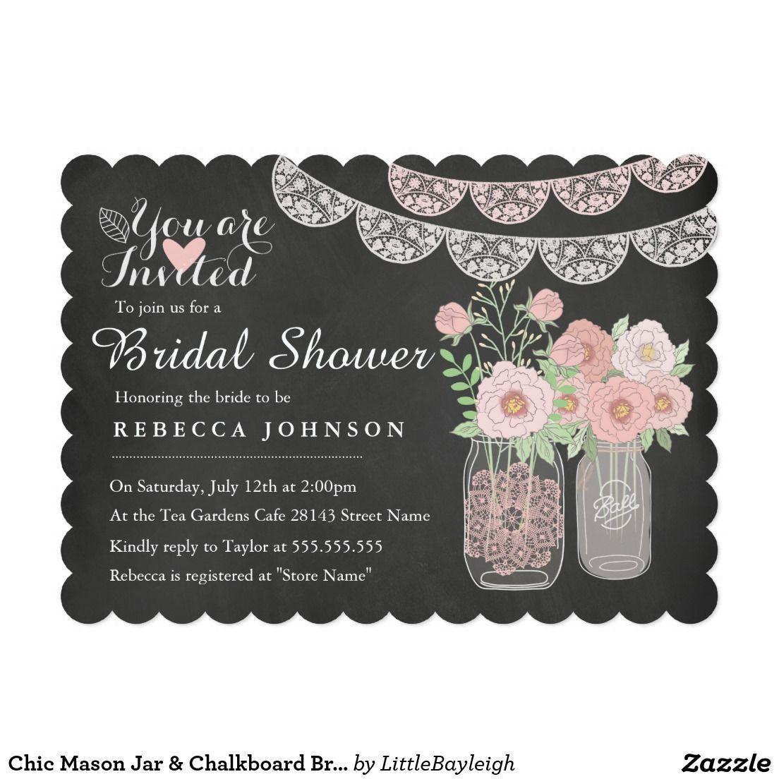 Chic Mason Jar  Chalkboard Bridal Shower Invite Elegant