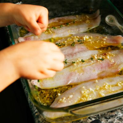 Oven poached flounder with garlic and olive oil recipe for How to cook whiting fish