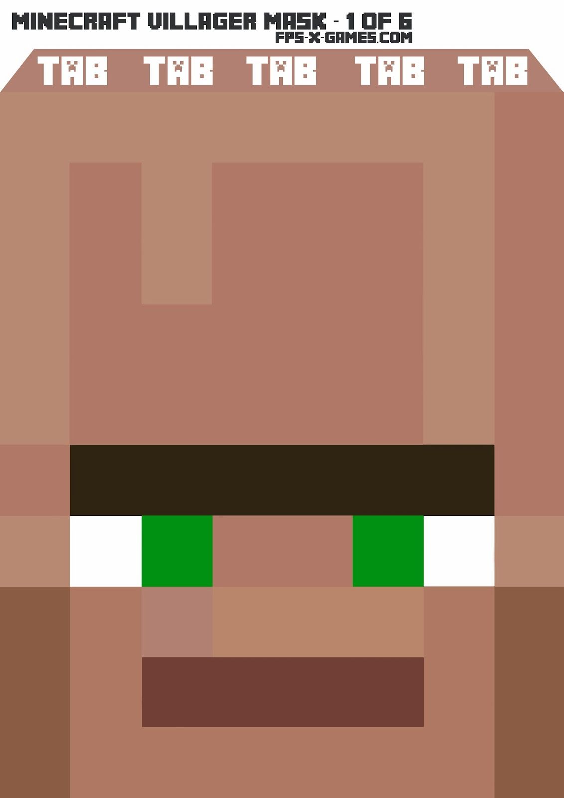 graphic regarding Minecraft Masks Printable titled Printable Minecraft Villager Mask 1 of 6 #minecraft #mask