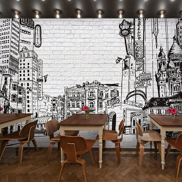 Free-shipping-Three-dimensional-brick-pattern-wallpaper-retro-black-and-white-graffiti-mural-restaurant-3D-sketch.jpg (750×750)