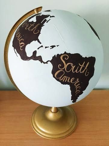 the trendy chick diy painted globe under 5 creative crafts pinterest diy upcycling. Black Bedroom Furniture Sets. Home Design Ideas
