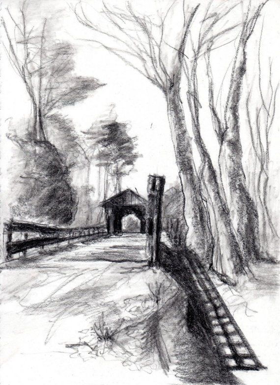 Original Landscape Drawing Charcoal and Conte by ...