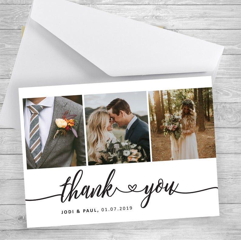 Wedding Thank You Cards With Photo Wedding Photo Thank You Etsy In 2020 Picture Thank You Cards Wedding Thank You Cards Photo Thank You Cards