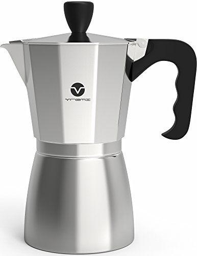 Vremi Stovetop Espresso Maker Coffee Stove Top 6 Cups Demite Shot For Gas Electric Italian Latte Silver