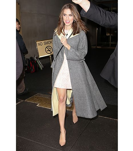 @Alexandra M What Wear - Allison Williams                 Sexy Scale: Mild The Girls actress recently stepped out in New York in a Christian Dior dress and nude Christian Louboutin pumps—a super chic combo, to be sure. But what caught our eye was the dramatic, sweeping gray coat Williams wore. Who said ladylike and sexy can't be synonymous? We sure didn't.