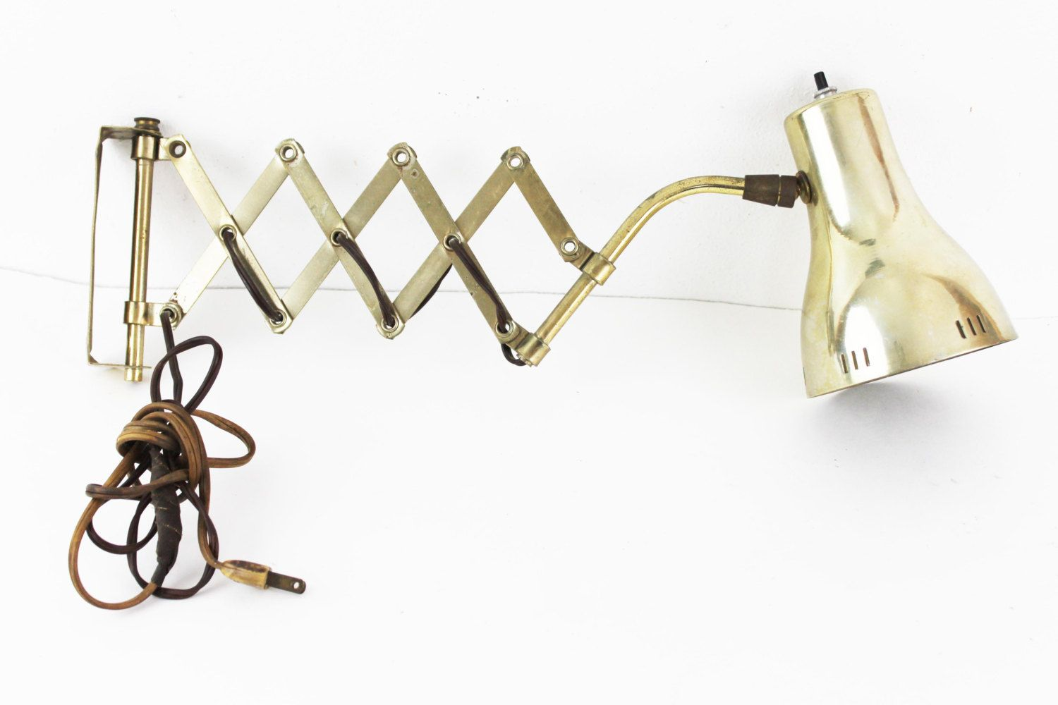 vintage mid century wall mount brass gooseneck accordion industrial scissor pull out lamp c1 by